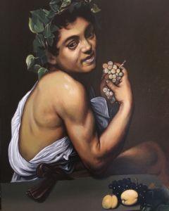 Matteo Appignani, Caravaggio, Bacchino malato, Olio su tela cm 53 x 67, 2018