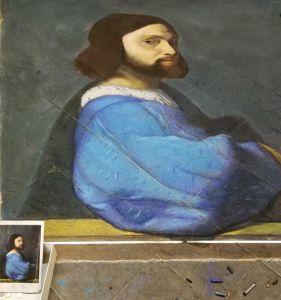 Madonnaro, street art, Tiziano, Ritratto di gentiluomo Pastello e gessetti su strada, cm 200x250, 2018,Matteo Appignani