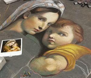 Madonnaro Street Art, Madonna Della Seggiola, Raffaello, Matteo Appignani