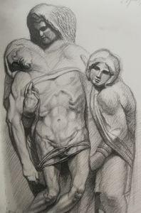 Disegno, Pietà di Palestrina, da Michelangelo, Matita su carta, Cm 20x30 , 2018, Matteo Appignani