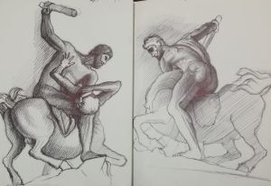 Disegno, Ercole e il Centauro Nesso, Giambologna, Penna su carta, Cm 30x40, Matteo Appignani