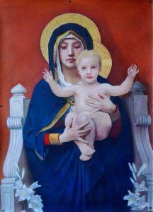Madonna con bambino, Bouguereau, pastelli su carta, Copie D'Autore, Matteo Appignani