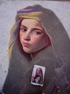 Madonnaro Street Art, Ragazza con melograno, Bouguereau, Matteo Appignani