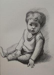 Disegno, Ritratto di Bambino, Penna su Carta, 20x30, Matteo Appignani