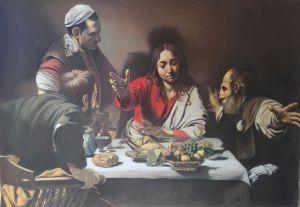 Pastelli su carta, Cena in Emmaus, Cm200x140, Caravaggio, 2017, Matteo Appignani
