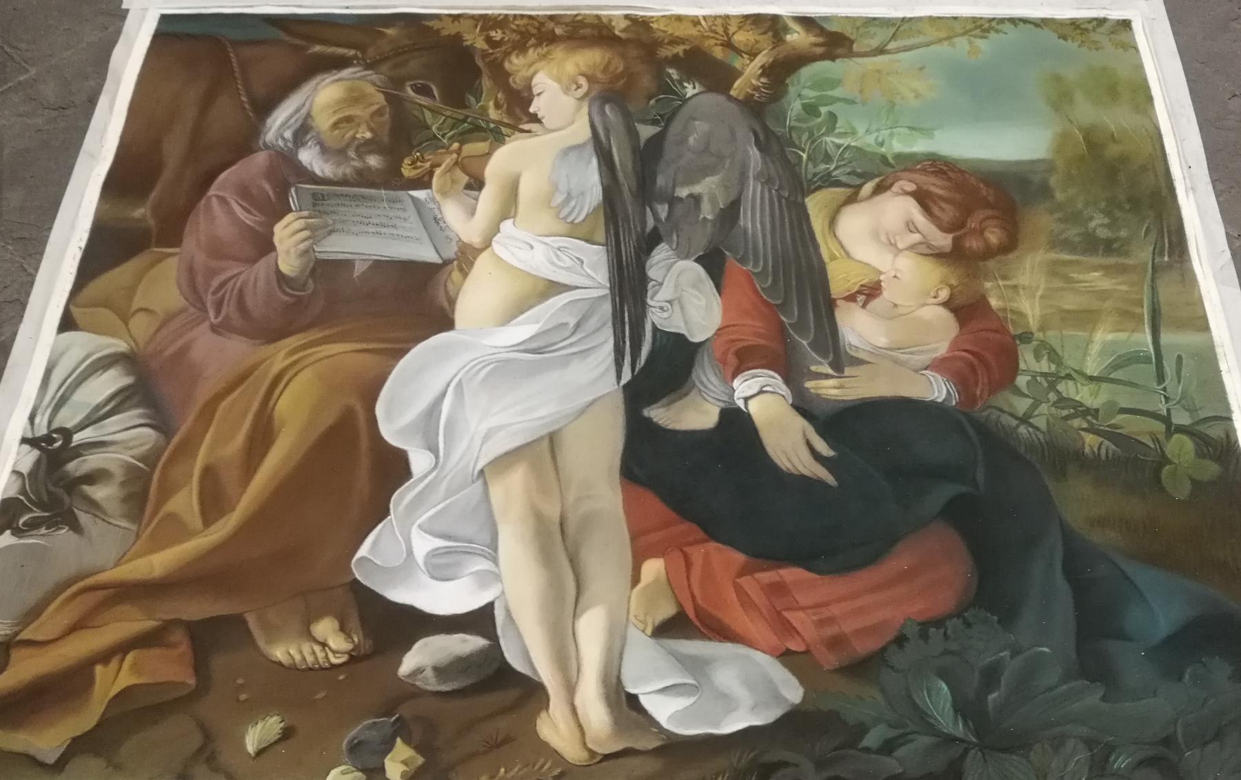 Riposo durante la fuga in Egitto, Caravaggio, pastelli su carta, 2019, Matteo Appignani
