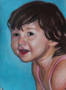 Ritratto di bambina, Pastelli su carta, cm 35x50, anno 2018