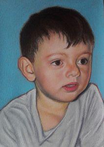 Ritratto di bambino, Pastelli su carta, cm 35x50, anno 2018
