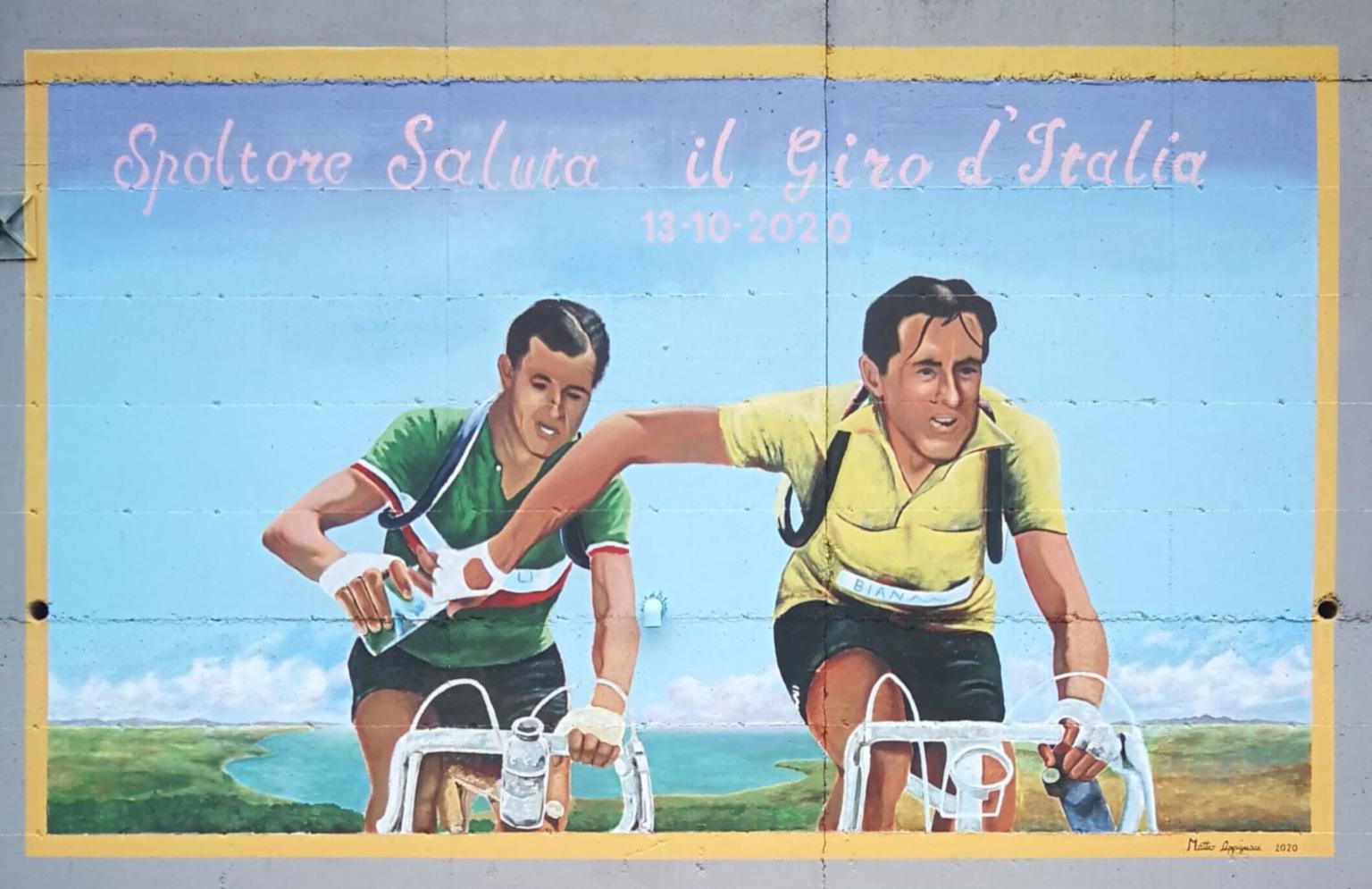 Pittura murale in occasione del passaggio del giro d'Italia per la prima volta a Spoltore, dimensioni 6 metri x 3,5 metri